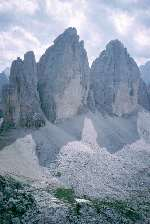 Tre Cime di Lavaredo from The Paternkofel to the north.