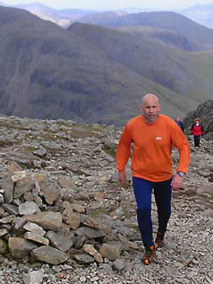 Bob Graham Round: On Scafell Pike, 40 miles in.