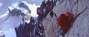 Mt Blanc: Central Pillar of Freney - on the Chandelle.