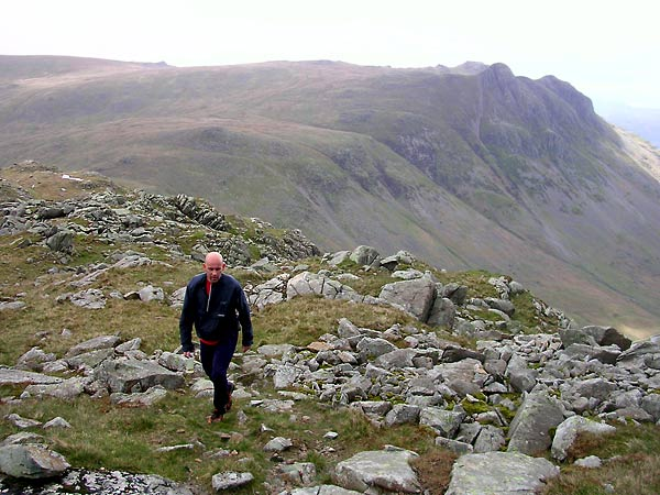 On Rossett Pike with the Langdale Pikes in the background